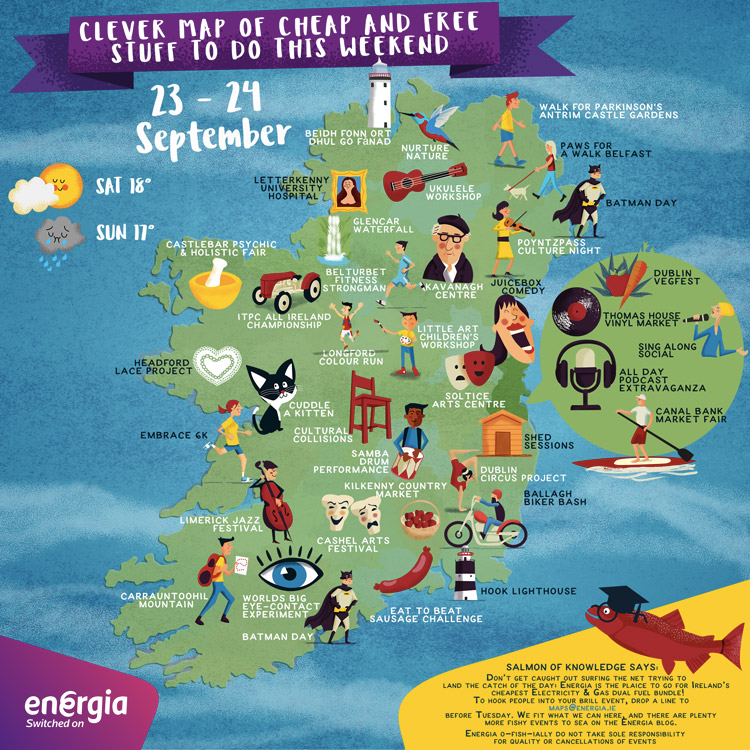 Cheap and Free Things to do in Ireland this weekend 23-24th September 2017