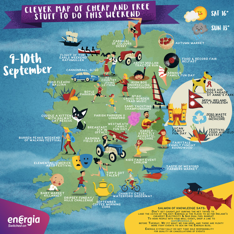 Cheap and Free Things to do in Ireland this weekend 9-10th September 2017