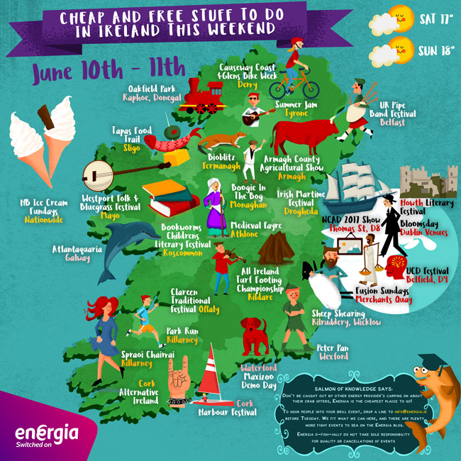 Clever Map of cheap and free stuff to do in Ireland weekend 10-11th June