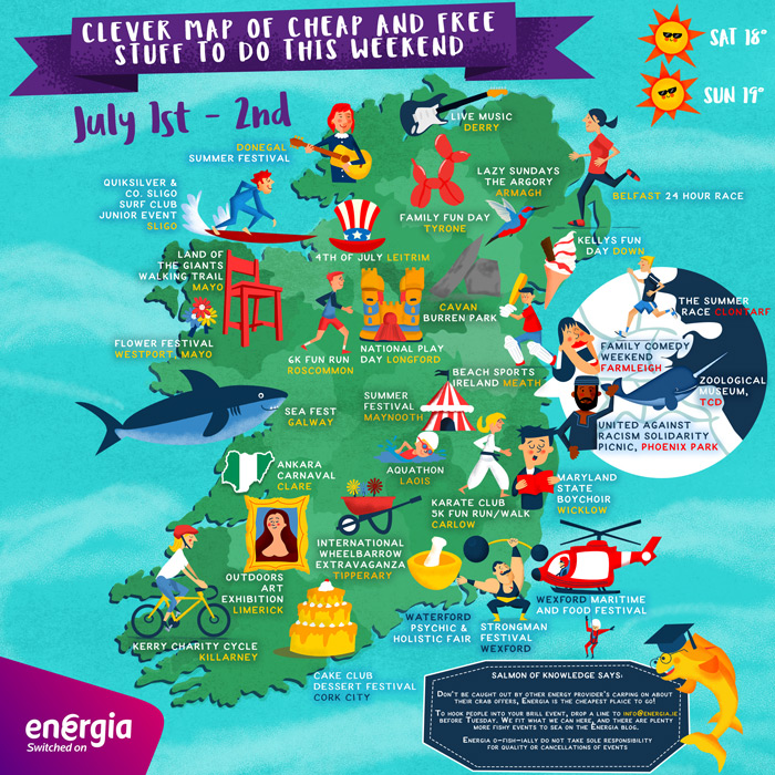 Clever Map of cheap and free stuff to do this weekend 1st-2nd July