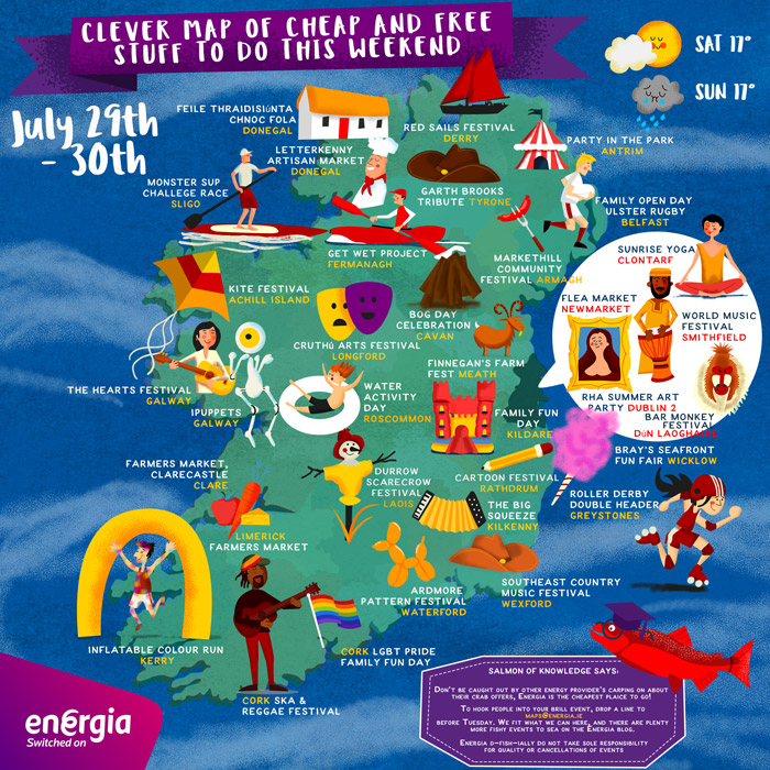 Clever Map of cheap and free stuff to do this weekend 29th-30th July
