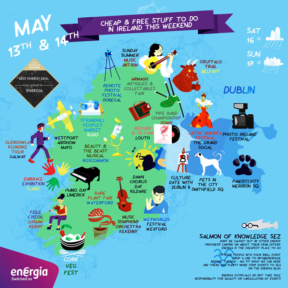 Clever Map of cheap and free things to do this weekend 13th -14th May