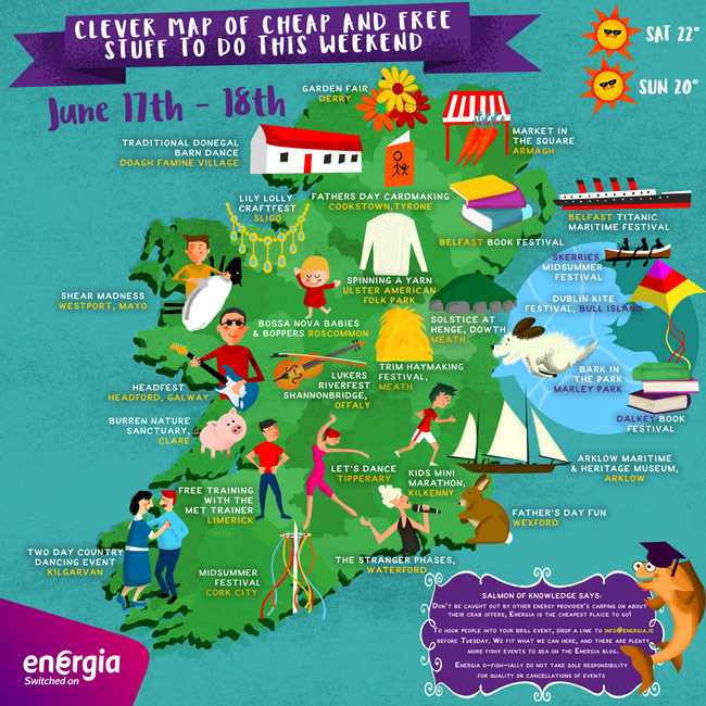 Clever Map of cheap and free stuff to do this weekend 17th-18th June