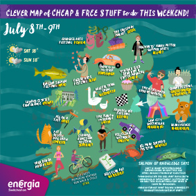 Clever Map of cheap and free stuff to do this weekend 8th-9th July